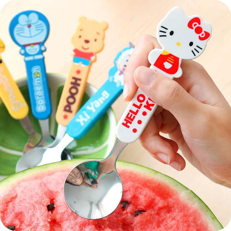 Fashion cartoon stainless steel spoon fork spoon anti hot Spoon Baby tableware will bring lovely children(China (Mainland))