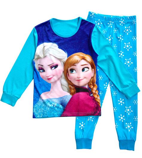 Boys Sleepwear Girls Pyjama Baby Clothes Children Clothing Set Kids Pijamas Sets Girls Snow Queen Elsa Anna Princess Pajamas set(China (Mainland))