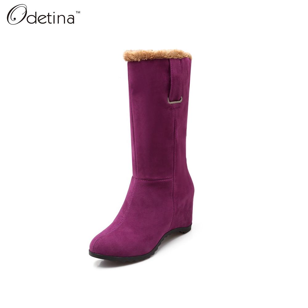 Odetina 2016 New Handmand Winter Large Size Plush Mid-calf Snow Boots for Woman Round Toe Suede Wedge Boots Slip on Solid Color(China (Mainland))
