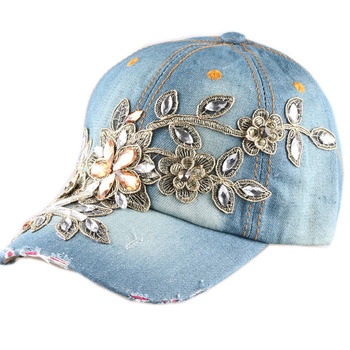 2015 New High quality Full Crystal Floral Denim Baseball Cap Bling Rhinestone hip hop Adjustable Snapback Hat for women