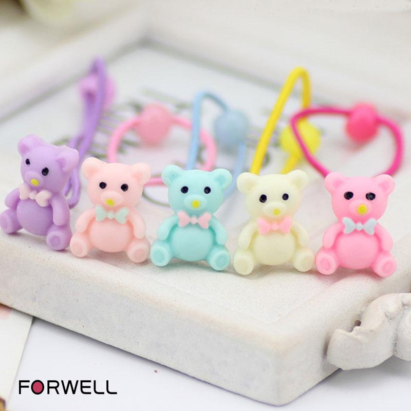 4Pcs/lot Children Baby Girls Hair Accessories DIY Elastic Bands Barrettes Bear Character Rubber Bands Girl Headwear Hair Ring(China (Mainland))