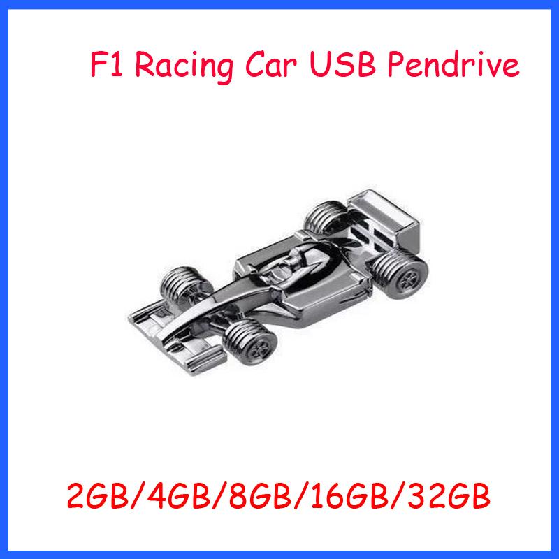 Free Shipping ! High Speed F1 Racing Car USB Flash Drive 2GB 4GB 8GB 16GB 32GB USB Disk Metal USB Pendrive(China (Mainland))