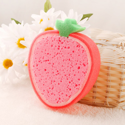 4Pcslovely fruit cleaning sponge sponge wipe microfiber Clean cotton washing dishes/cleaning tools(China (Mainland))