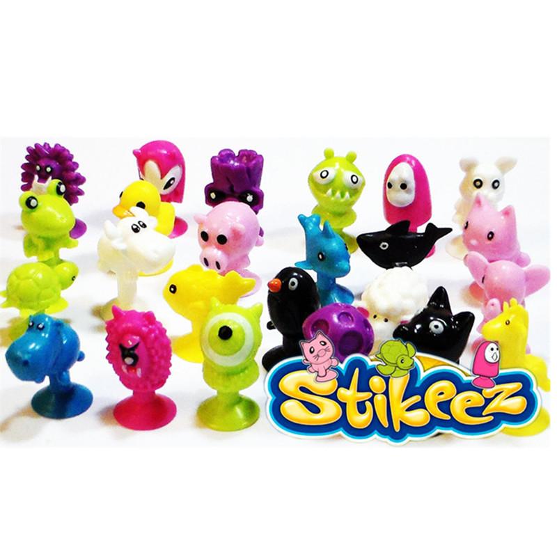 Cartoon Animal Action figures Minifigures Stikeez toys Sucker Mini Suction Cup Collector Capsule model kids toys(China (Mainland))