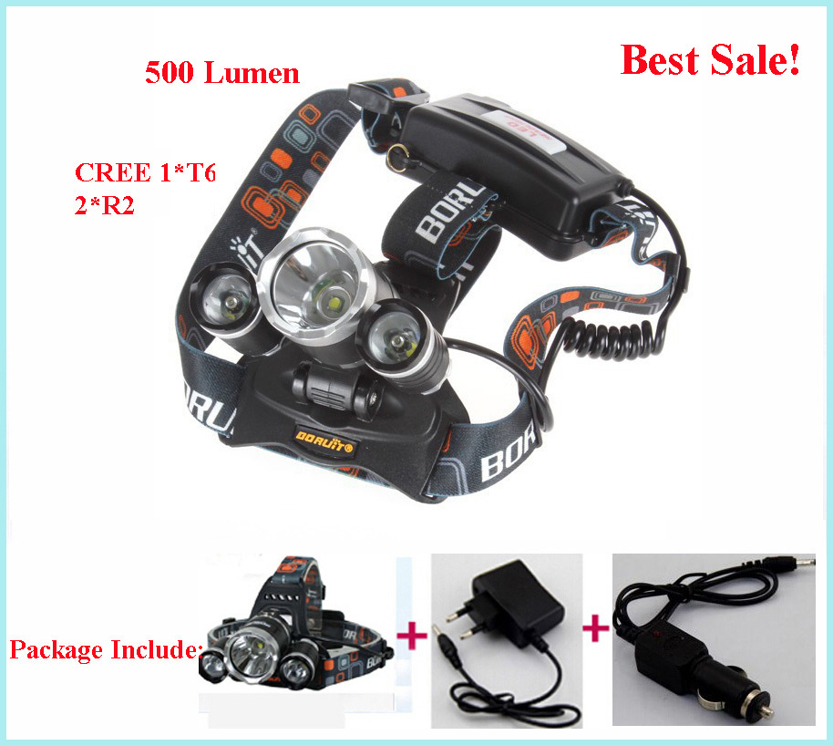 CREE 1*T6 2*R2 3x CREE T6 LED 5000Lm Rechargeable Headlamp Headlight Head lamp + AU/EU/US Charger +CAR Charger(China (Mainland))