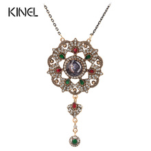 Kinel Vintage Jewelry Imitation Blue Pendant Necklace For Women Color Ancient Gold Crystal Gifts(China (Mainland))