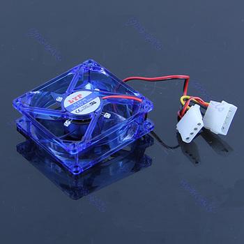 J34 Free Shipping 80 x 80 x 25mm 4 Pins Cooling CPU Heatsink Fans 4 LED Light F Computer PC Case B
