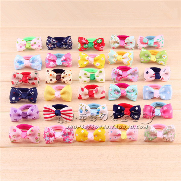 Children's hair accessories Korean version of the small ribbon bow head flower hair ring towel ring girls headdress Shengpi tend(China (Mainland))