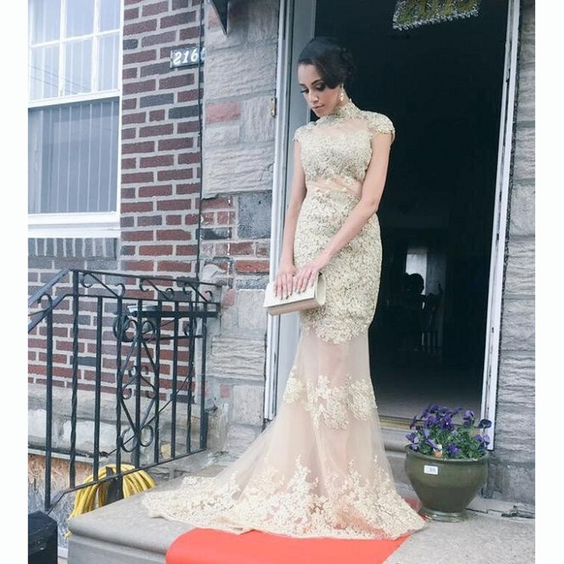 Elegant High Neck Champagne Mermaid Evening Dresses Cap Sleeves Floor Long Backless Tulle Prom Dress with Lace Appliques Vestido(China (Mainland))