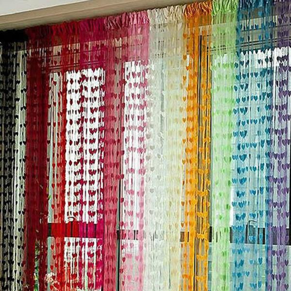 Cute Heart Line Tassel String Door Curtain Window Room Divider Curtain Valance(China (Mainland))