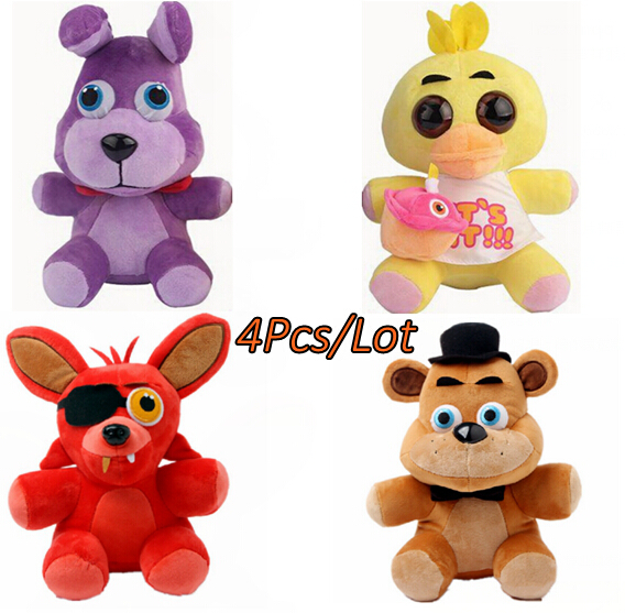 4pcs/lot Five Nights At Freddy's 4 Toys 25CM FNAF Freddy Fazbear Bear Stuffed Plush Animals Dolls Plush Toys Kid Soft Toys Gifts(China (Mainland))