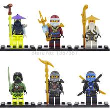 Florescent Ninja Minifigures Jay/Cole/WU 6pcs/lot Super Heroes Building Blocks Sets Model Toys Figures For Children
