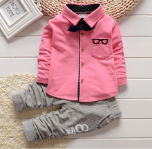 2015 Spring Autumn clothes set baby boys/girls christmas outfits Gentleman clothing sets Glasses cardigan two pcs Kids suit set(China (Mainland))