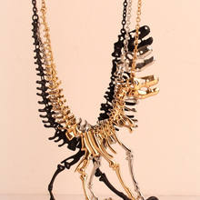 Goth Alloy Dinosaur Skeleton Dead Tyrannosaurus T Rex Charm Necklace Choker Necklace For Women Jewelry Collar