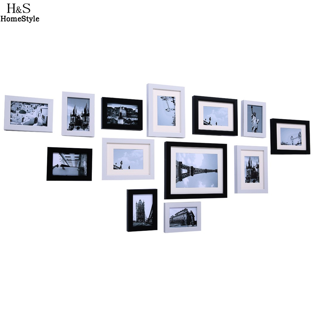 Modern DIY Home Decor Wooden Wall Hanging Display Picture Photo Frames Set 13 PCS/set wholesale us6(China (Mainland))