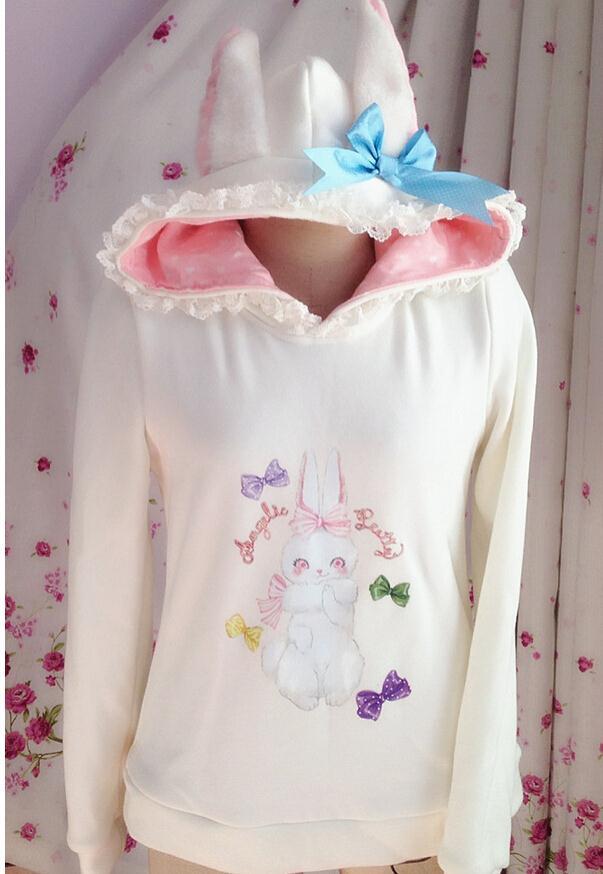 Hooded long-sleeved coat lovely rabbit printing LOLITA coat black and white costume on sale(China (Mainland))
