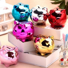 Cute Cartoon Pig Ceramic Piggy Bank Kids Children Toy Coin Cashbox Birthday Gift TB Sale(China (Mainland))