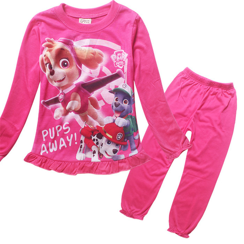 2016 New Cotton Princess Girls Long Sleeve Sleepwear Children Cartoon Patrol Homewears T Shirt Pants Clothing