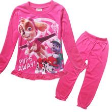 2016 New Cotton Princess Girls Long Sleeve Sleepwear Children Cartoon Patrol Homewears T-Shirt + Pants Clothing Sets Pijamas PJS