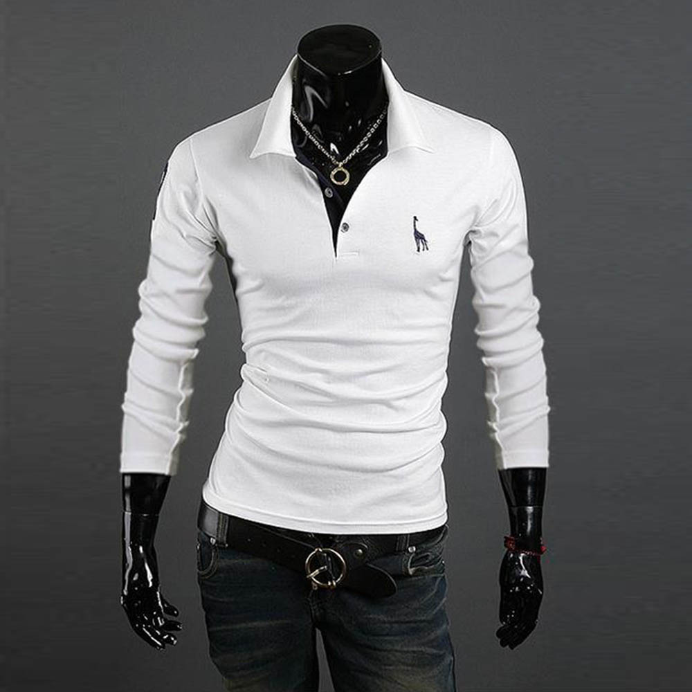 New Men's Polo Shirt Slim Fit Long Sleeve Casual Temperament Boy Tops UK 12-20