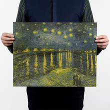 van Gogh famous Oil Painting/Starry Night Over the Rhone/kraft paper/bar poster/Retro Poster/decorative painting 47*36cm(China (Mainland))