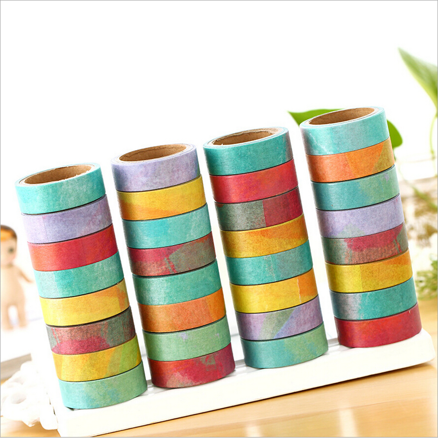 8 pcs/Lot Empty color Rainbow paper washi tape Original washi tapes stickers DIY scrapbooking Stationery School supplies<br><br>Aliexpress