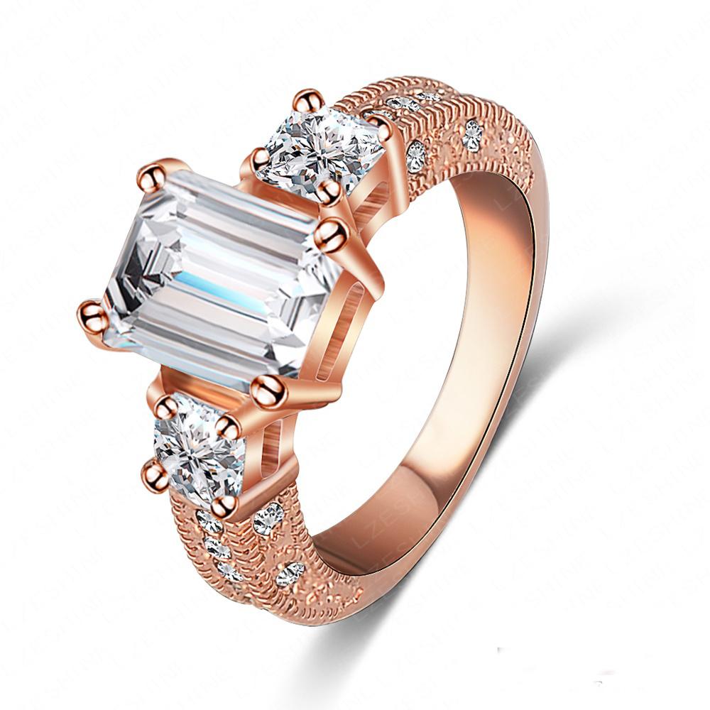 Moda Vintage de lujo anillos 18 K chapado en oro rosa Bijoux anillo de compromiso para mujeres con Cubic Zirconia bulgaria anillo Ri HQ1018 en Anillos de