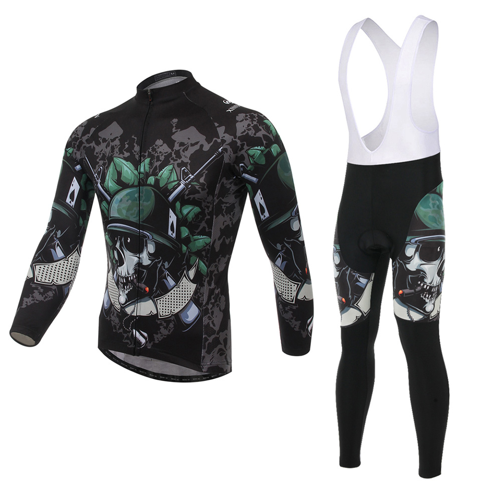 2015 Bicycle Jersey Men Long Sleeve Sport Suit Breathable High Quality XINTOWN Skull soldier Design<br><br>Aliexpress