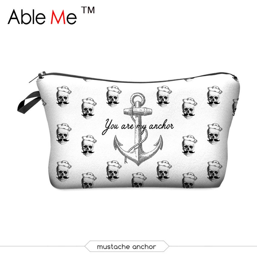 AbleMe Pirate Printing Cosmetic Bag Organizer Women Travel Bag Pouch Makeup Bag Maleta De Maquiagem Profissional Com Maquiagem(China (Mainland))