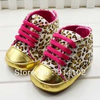 Free shipping Baby girls shoes Leopard Toddler shoes soft sole baby Walkers Wear Comfortable prewalker size 11 12 13cm