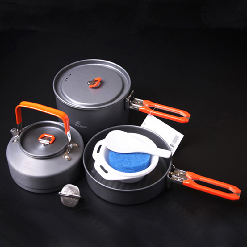 Hot Sale 2-3 Persons Camping Cookware Set Medium Pot & Frying Pan & Tea Pot For Camping Hiking Cutlery Set Fire Maple Feast-2(China (Mainland))