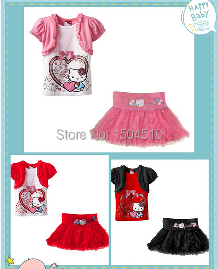 kids girl hello kitty short sleeve shirt skirt sets girls kitty cat suit baby girls set 5set/lot pink red black 2014 new<br><br>Aliexpress