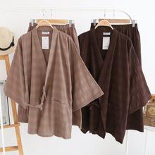New summer Japanese long-sleeve cotton and linen kimono sets Mens pajamas sets loose homewear Khan Steam robe plus size 100kg(China (Mainland))