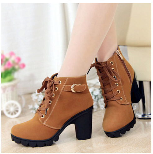 hot 2015 New Autumn Winter Women Boots Solid Lace-up European Ladies PU Leather Fashion shoes - SAR store