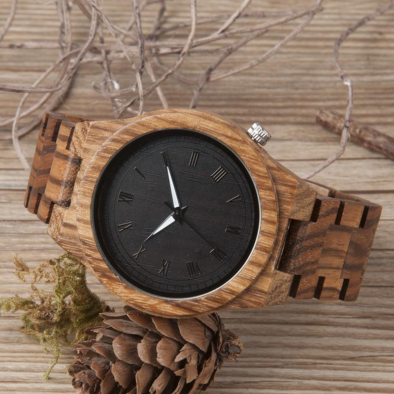 Zebra Wood Strap Wristwatch Wooden Strap Quartz Watches Gifts relogio masculino C-M30 (4)