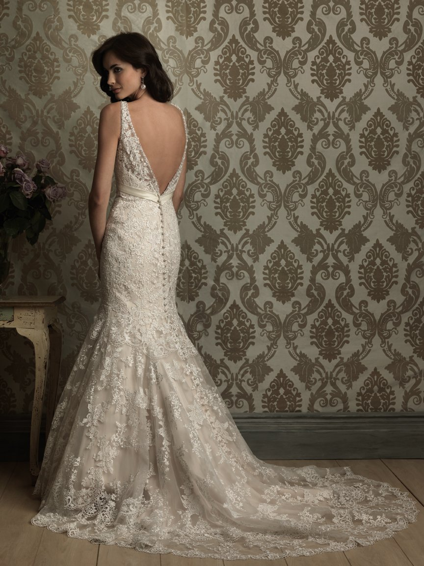 fishtail wedding dress Royal deep v neck lace tulle fishtail wedding gown AWG