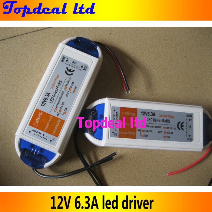 75W 12V 6.3A LED driver adapter transfor for led stip light light, 90-240V input, Hotsale(China (Mainland))