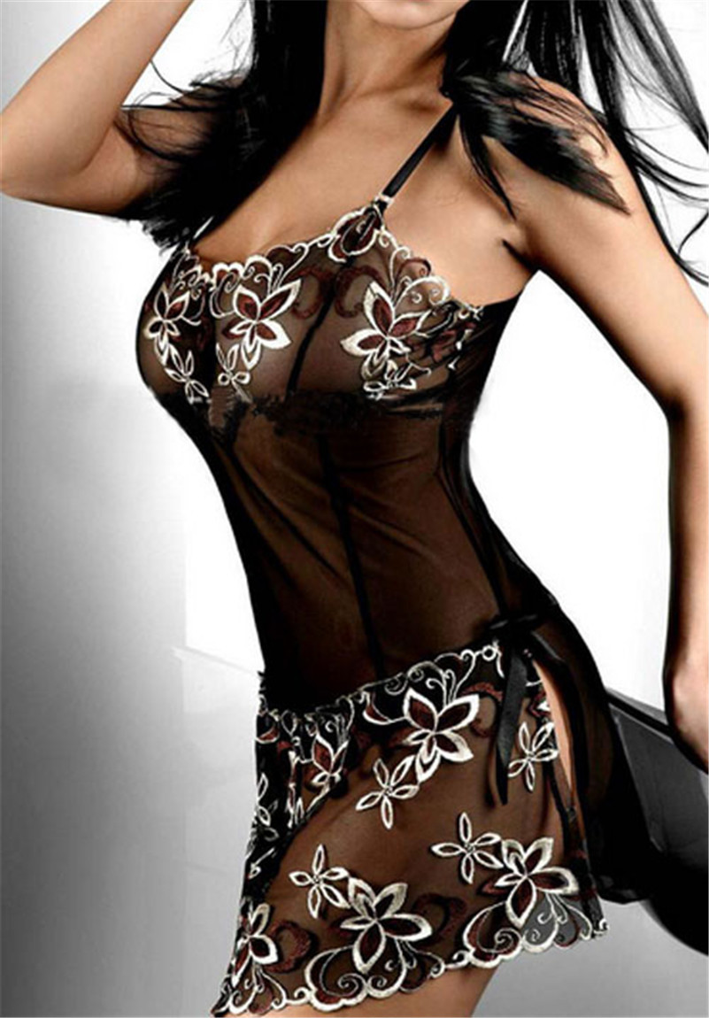 latest style embroidery Sexy Lingerie set lady print perspective lure pajamas women underwearОдежда и ак�е��уары<br><br><br>Aliexpress