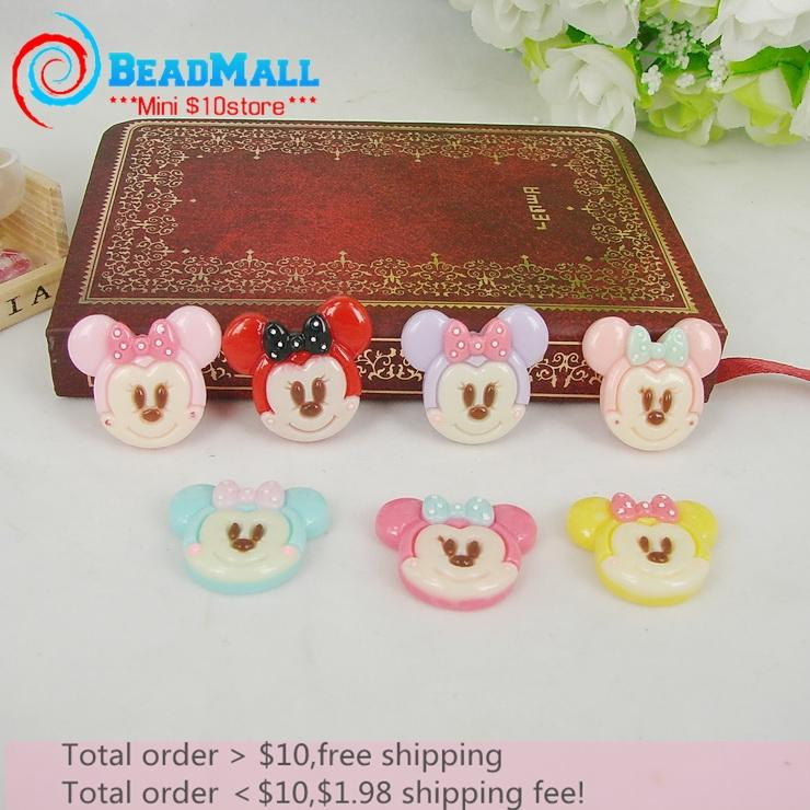 Min order $10 Wholesale 50pcs 21*23mm resin flat back cabochon,mix color cute mouse mickey mouse with bow resin phone art DIY082(China (Mainland))