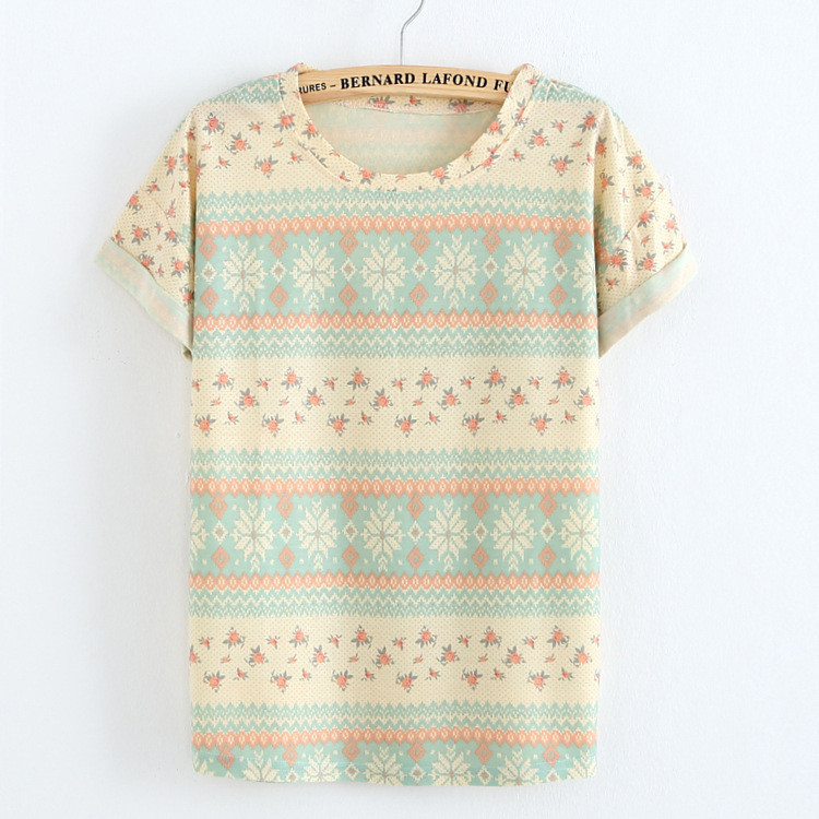 New 2015 cotton Linen t shirt Crimping sleeve Striped/flowers print women t shirt Leisure T-shirt 18 model(China (Mainland))