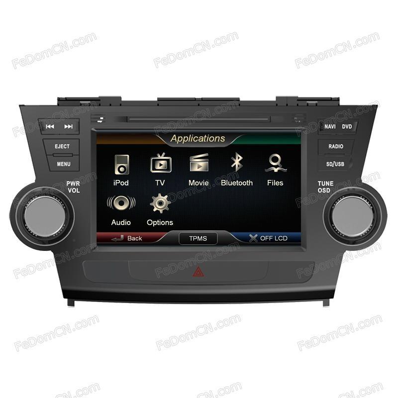 Roadrover(R) car dvd gps navigation car central armrest dvd player touch screen car dvd player for Toyota Highlander Kluger(China (Mainland))