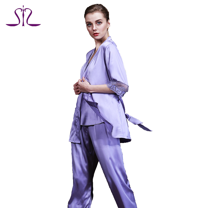 New Arrvial Silk Women Pyjamas For Home Clothing 3 Piece Embroidery Ladies Bathrobe Sets Of Sleep Lounge TZ011(China (Mainland))