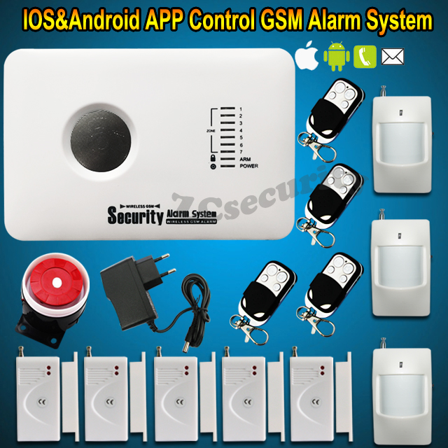 Support iOS and Android Application Home Burglar GSM Alarm System Quad-Band with Russian English Language Free shipping(China (Mainland))