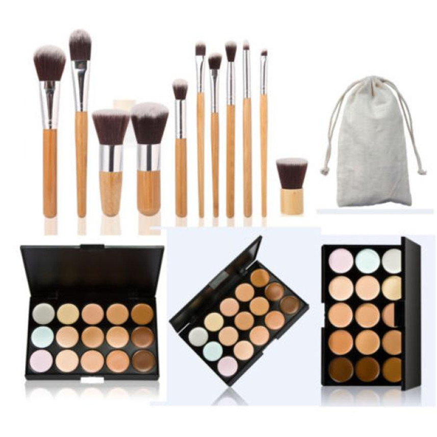 15 Colors Face Concealer Camouflage Cream Contour Palette 11PC Bamboo Makeup Brush Set G6622(China (Mainland))