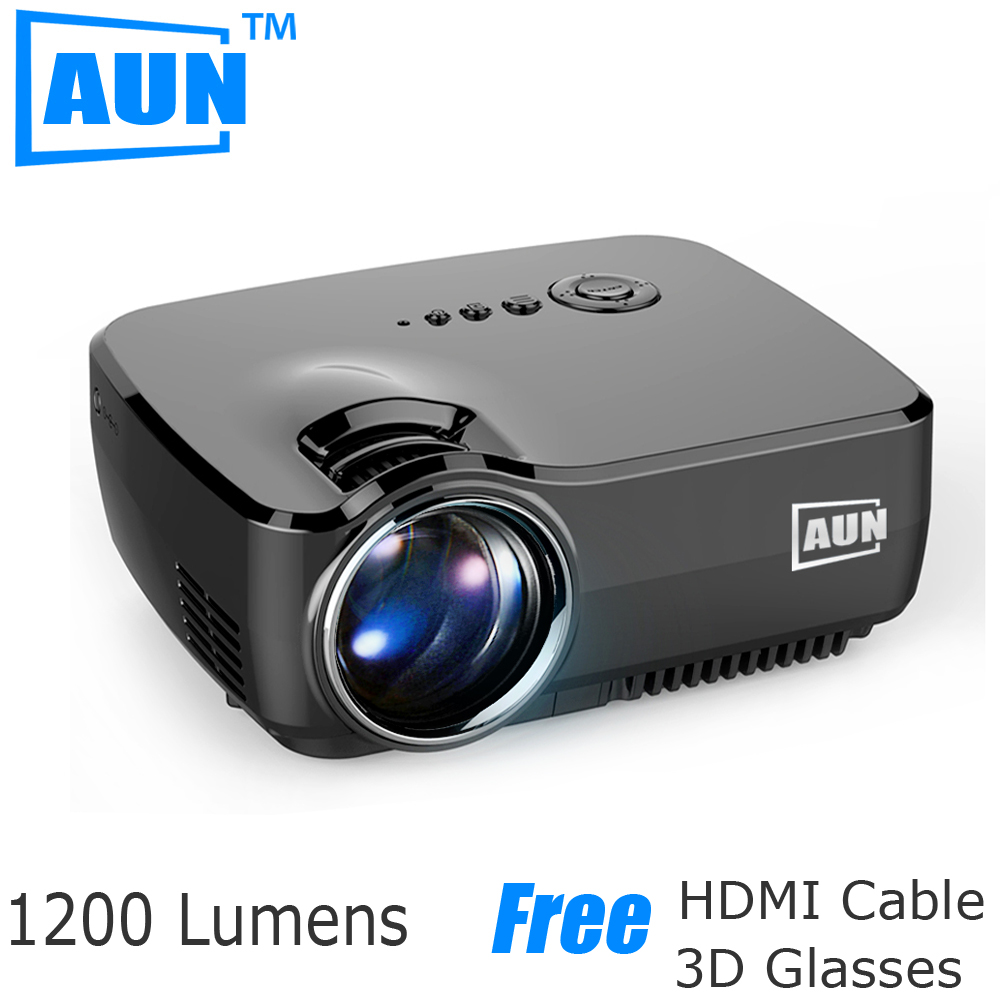 Aun led projector 1200 lumens mini projector support for Lumen pocket projector