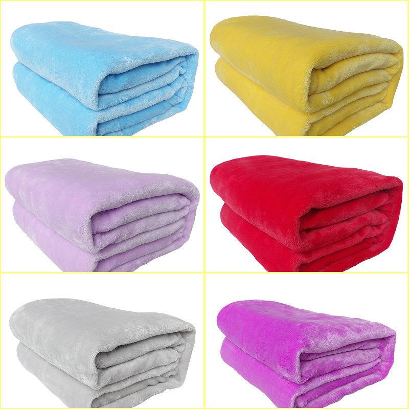 Cobertor de casal flannel solid red blue white yellow for Cobertor para sofa
