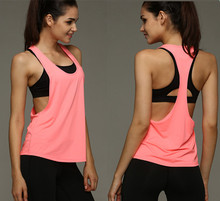 Women s Sports Vest professional quick drying fitness Tank Top Active workout Yoga clothes T shirt