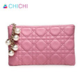 CHICHI Genuine Leather Women Wallets Zipper Coin Purses Luxury 2016 Ladies Plaid Pendant Change Card Holder