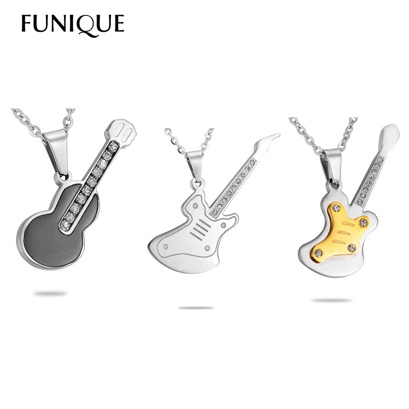 FUNIQUE 1PC Mens Womens Unisex Stainless Steel Guitar Pendant Necklace PUNK Rhinestone Polished(China (Mainland))