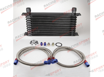 10 ROW AN-10AN UNIVERSAL Trust style ENGINE OIL COOLER KIT-Black + Filter Relocation kit